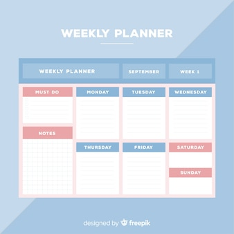 Modelo moderno planejador semanal com design plano