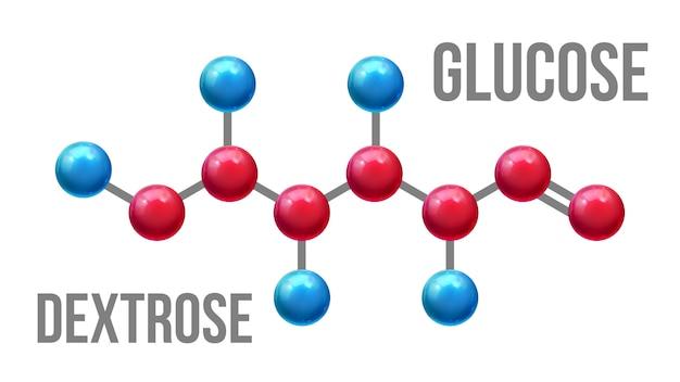 Modelo molecular da estrutura da dextrose da glicose