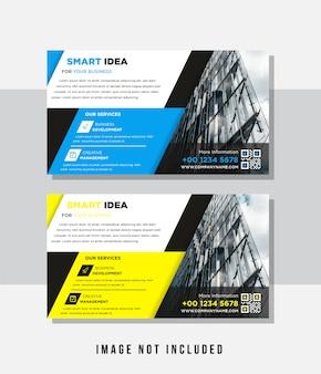 Modelo multiuso com tampa. moderno design plano geométrico minimalista. formato a4 paisagem horizontal do panfleto comercial. cor preta, azul e amarela. espaço para foto.