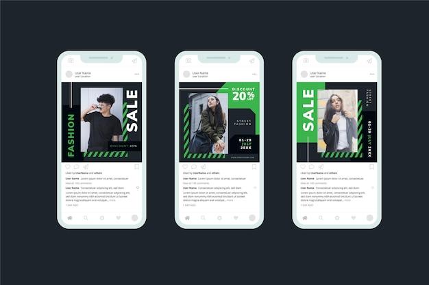 Modelo na coleção de mídias sociais de venda preto e verde