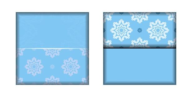 Modelo o cartão postal é azul claro com um padrão branco abstrato. pronto para impressão.