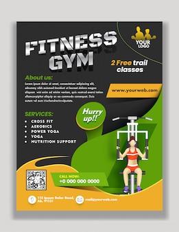 Modelo ou folheto de publicidade com detalhes do local e ilustração de mulher exercitando da máquina lat para fitness gym.