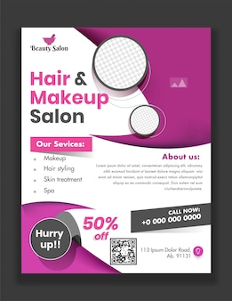 Modelo ou folheto de salão de cabeleireiro e maquiagem com determinados serviços e detalhes do local para publicidade.