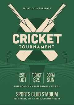 Modelo ou folheto de torneio de críquete em estilo retrô com detalhes do local.