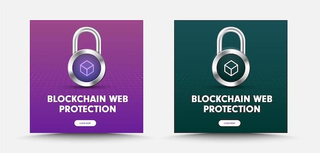 Modelo para banners de mídia social com cadeado e um ícone de caixa de cadeado para proteção de informações