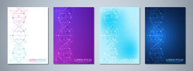 Modelo para capa ou folheto, com fundo de moléculas e fita de dna. conceito médico ou científico e tecnológico.
