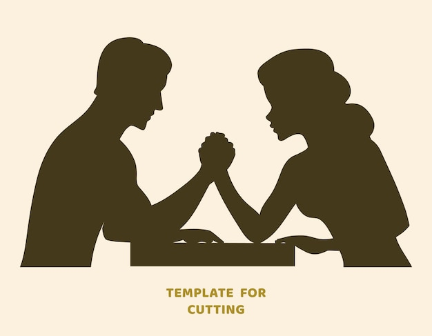 Modelo para corte a laser, escultura em madeira, corte de papel. silhuetas para corte. desafio de queda de braço entre um estêncil de vetor de jovem casal.