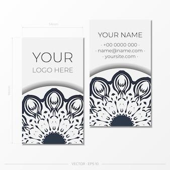Modelo para design de impressão de cartões de visita cor branca com ornamento vintage preto. preparação de cartão de visita de vetor com padrões gregos.