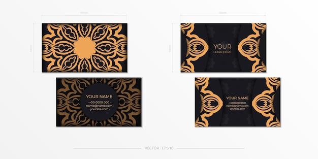 Modelo para design de impressão de cartões de visita cor preta com ornamentos vintage. preparação de cartão de visita de vetor com padrões gregos.
