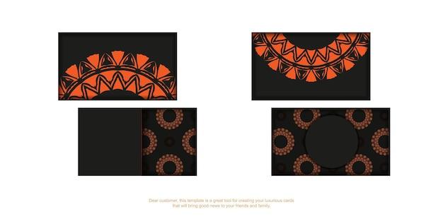 Modelo para design de impressão de cartões de visita em preto com enfeites laranja. vector cartão de visita pronto com lugar para o seu texto e padrões vintage.