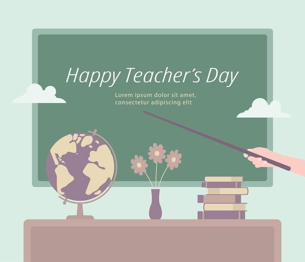 Modelo para feliz dia do professor gesto com a mão com um ponteiro indicando parabéns