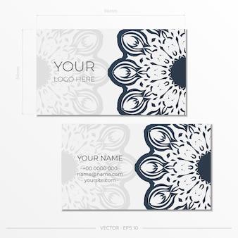 Modelo para impressão de cartões de visita de design cor branca com padrões vintage pretos. preparação de cartão de visita de vetor com ornamento grego.