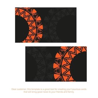 Modelo para imprimir cartões de visita de design em preto com padrões laranja. preparar um cartão de visita com um lugar para o seu texto e ornamentos vintage.