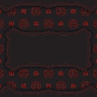 Modelo para imprimir cartões postais de design na cor preta com máscara do ornamento de deuses. vector prepare seu convite com um lugar para seu texto e seu rosto nos padrões do estilo polizeniano.