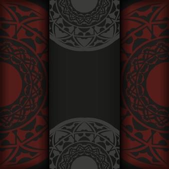 Modelo para imprimir cartões postais de design na cor preto-vermelho com padrões abstratos. preparação de vetor de cartão de convite com lugar para o seu texto e ornamento vintage.