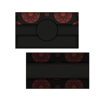 Modelo para imprimir cartões postais de design na cor preto-vermelho com padrões abstratos.
