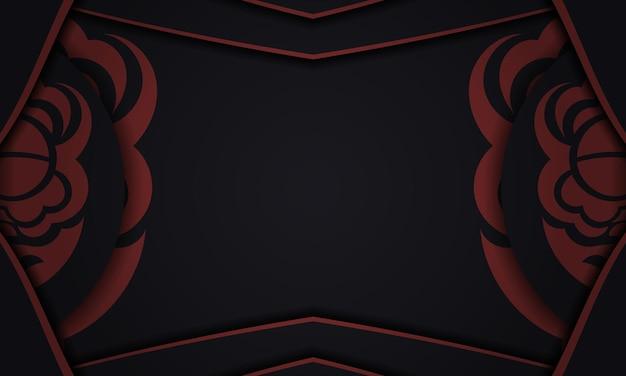 Modelo para imprimir o fundo do projeto com padrões luxuosos. banner de vetor preto com ornamentos maori e lugar para o seu texto e logotipo.