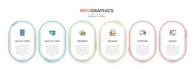 Modelo para infográficos de compras seis opções ou etapas com ícones e texto