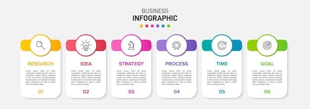 Modelo para infográficos de negócios. seis opções ou etapas com ícones e texto.