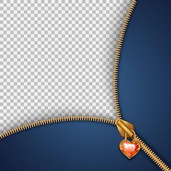 Modelo para inserir texto com um fecho de correr em forma de coração com uma pedra brilhante.