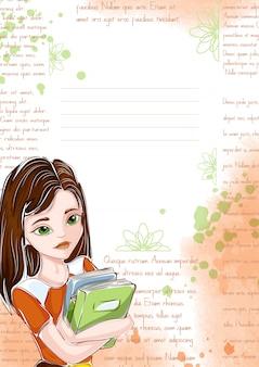 Modelo para notebook ou bloco de notas. aluna com livros, blocos de texto, letras.