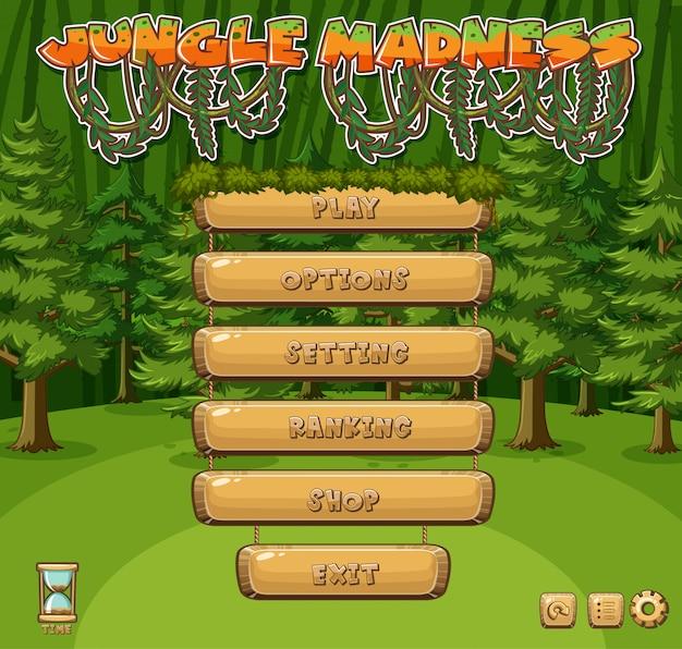 Modelo para o jogo da selva com árvores verdes na floresta