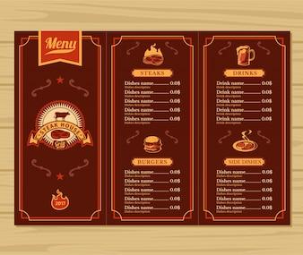 Modelo para o menu do restaurante