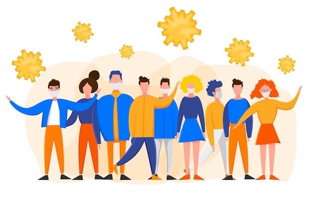 Modelo para o novo surto do coronavirus 2019-ncov com um grupo de pessoas isoladas em um fundo branco. conceito de epidemiologia pandêmica. ilustração em vetor plana.
