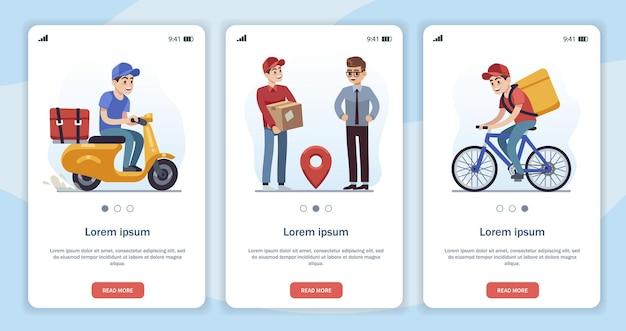 Modelo para página de aplicativo móvel com tema de entrega. correio rápido de caracteres de vetor de desenhos animados plana, motorista de motocicleta, passeios de ciclista na estrada. entregador dá a caixa ao cliente e recebe o pacote.