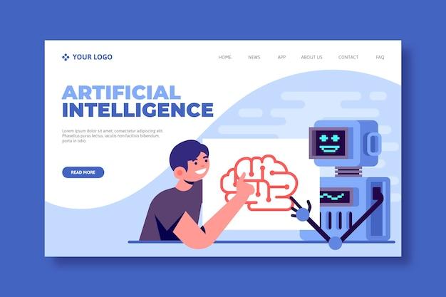 Modelo para página de destino de inteligência artificial