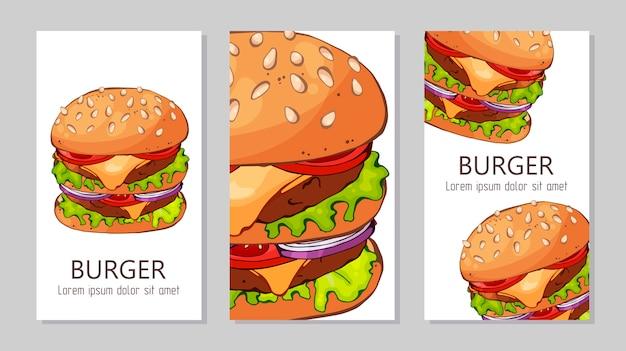 Modelo para publicidade de hambúrgueres de receitas diferentes.