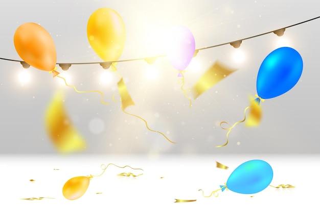Modelo para uma ilustração de congratulações com balões poppers e guirlandas