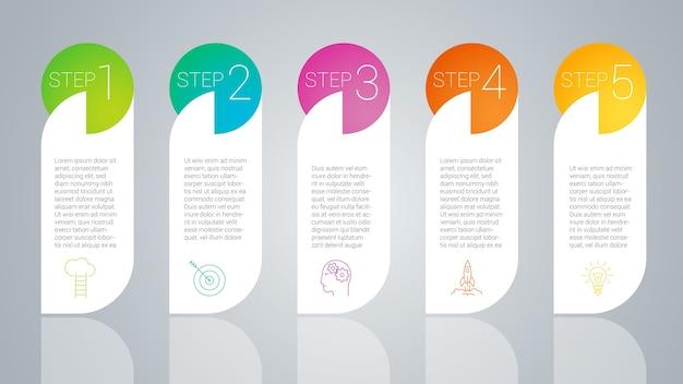 Modelo passo a passo de infográficos de cores do arco-íris.