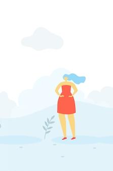 Modelo plana de banner mulher romântica bonito dos desenhos animados