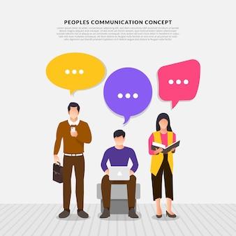Modelo plano com as pessoas falam com balão de mensagem.