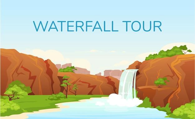 Modelo plano de banner de excursão em cachoeira