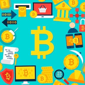 Modelo plano de bitcoin. ilustração vetorial conceito de criptomoeda de negócios.