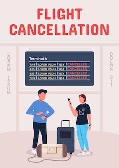 Modelo plano de cartaz de cancelamento de voo
