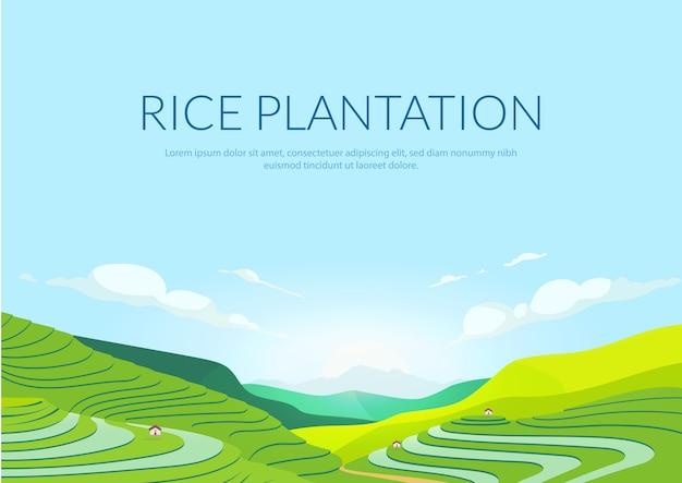 Modelo plano de cartaz de plantação com terraço