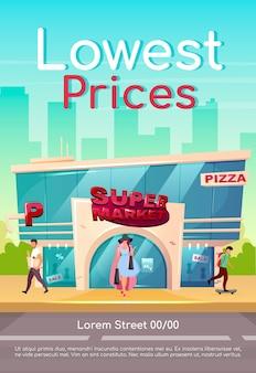 Modelo plano de cartaz de preços mais baixos. desconto de shopping para roupas. desconto da loja. oferta especial da loja. folheto, projeto de conceito de uma página de livreto com personagens de desenhos animados. folheto de supermercado, folheto