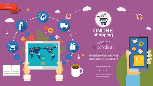 Modelo plano de e-commerce Vetor grátis