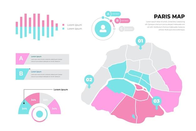Modelo plano de infográficos de mapa de paris