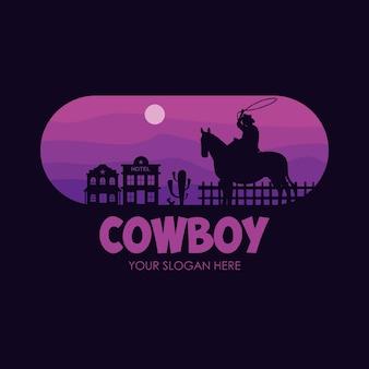 Modelo plano de logotipo cowboy noite