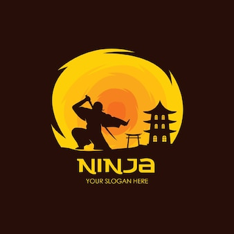 Modelo plano de logotipo ninja noite