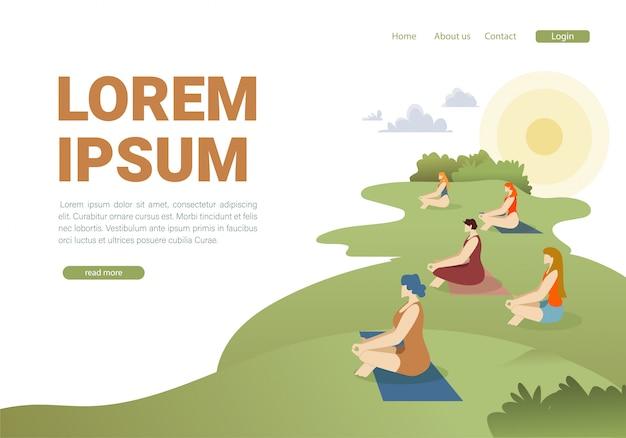 Modelo plano de página de aterragem de lição de pilates ao ar livre