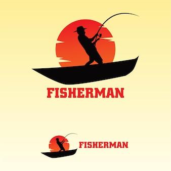 Modelo plano de pescador de logotipo