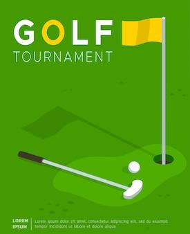 Modelo plano de pôster de torneio de golfe promocional
