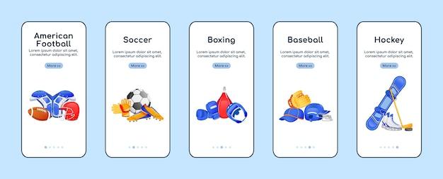 Modelo plano de tela de aplicativo móvel para equipamentos esportivos