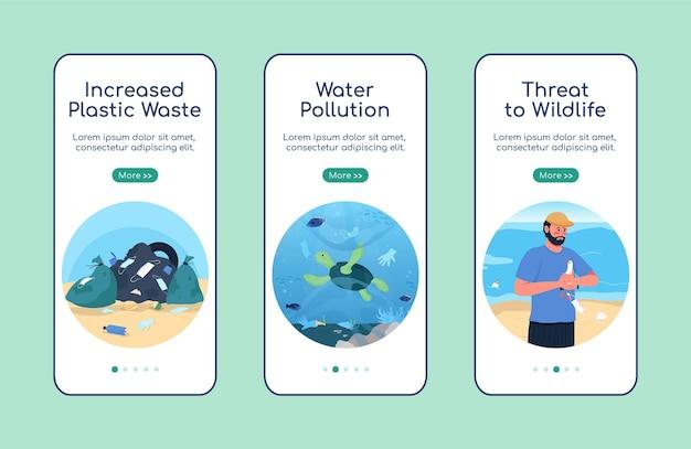 Modelo plano de tela de aplicativo móvel para integração de poluição ambiental