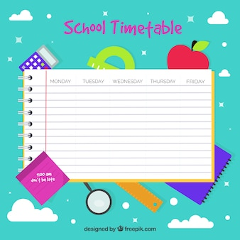 Modelo plano do calendário escolar do bloco de notas